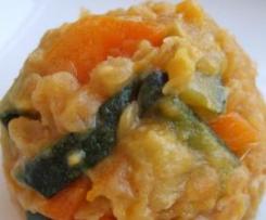Lentilhas com coco e molho de soja