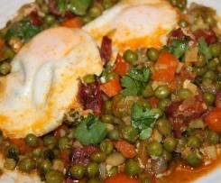 Ervilhas com ovos escalfados à Cláudia