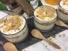 Risotto doce de vinho do Porto branco com praliné e broa de Avintes acompanhado de natas