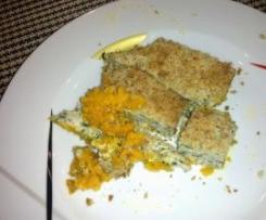 Frango no forno com espinafres em cama de puré de Cenoura