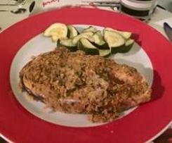 salmão com crosta de broa e ervas aromáticas