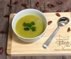 Sopa de curgete com batata doce e Coentros