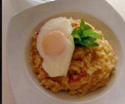 Risoto Alheira Bacon e ovo escalfado