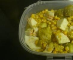 Delícias de lagosta com couves-de-bruxelas e milho