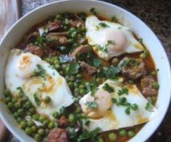 Ervilhas com ovos escalfados e entrecosto