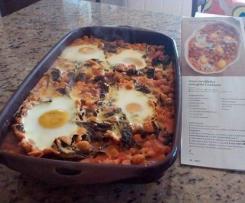 Ovos escalfados com grão e nabiças