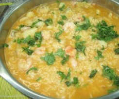 Arroz de tamboril e camarões