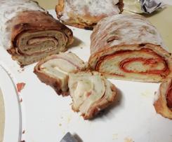 Pão com queijo e bacon / chouriça