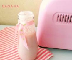 Iogurte líquido de framboesa e banana