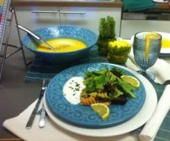 Salada xl com molho de iogurte e sopa de legumes